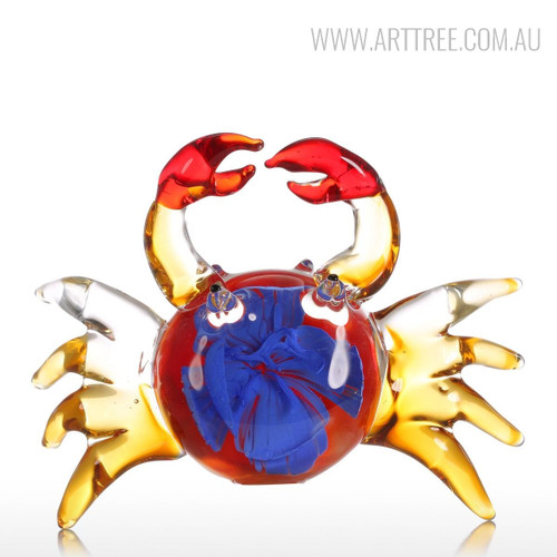 Handmade Floral Pattern Crab Glass Sculpture Sea Animal Miniature