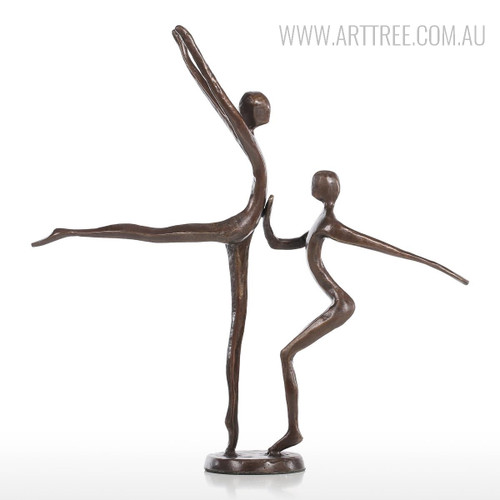 Brown Dancing Couple Bronze Sculpture Contemporary Statue