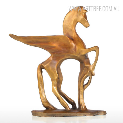 Golden Flying Horse Bronze Sculpture Contemporary Animal Statue