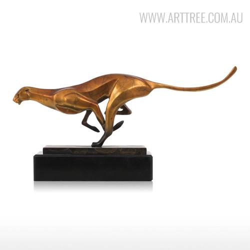 Leopard Bronze Sculpture Contemporary Bronze Metal Animal Statue