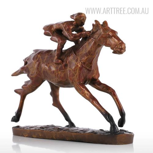 Contemporary Horse Racer Statue Bronze Metal Sculpture Art