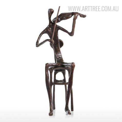 Violin Playing Bronze Metal Miniature Contemporary Sculpture Art