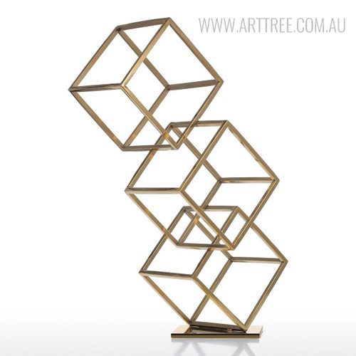 Abstract Three Cubes Electroplating Craft Metal Sculpture