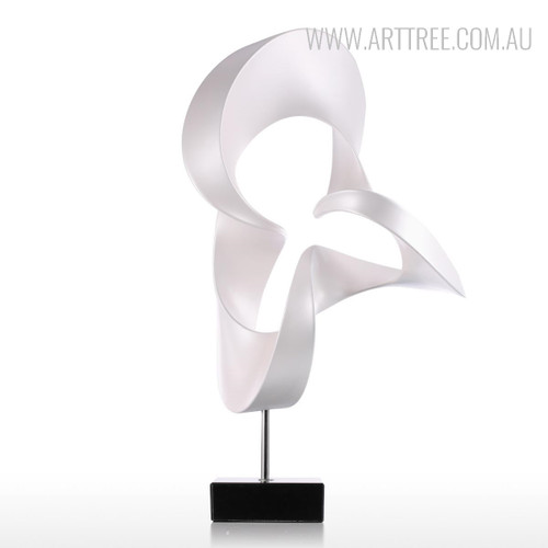 White Abstract Flame Sculpture Contemporary Resin Art