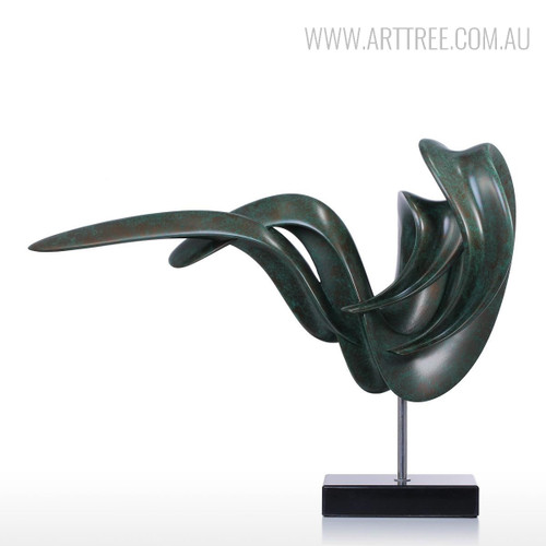 Black Abstract Sitting Posture Sculpture Contemporary Resin Art