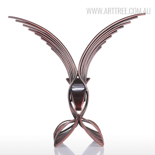 Eagle Iron Metal Sculpture Wild Hawk Bird Statue
