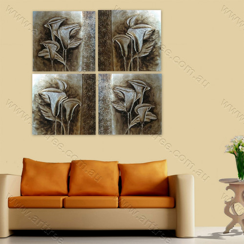 Grey Arum Lily Floral split canvas painting