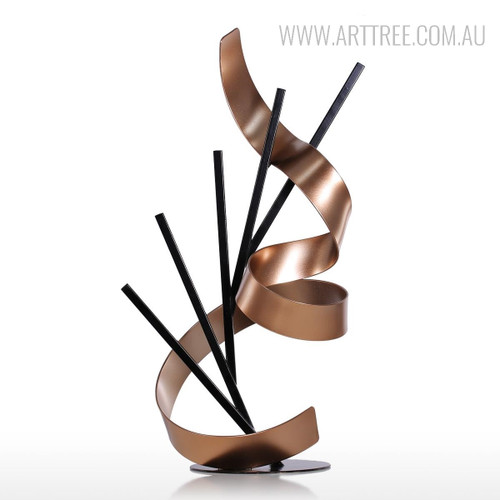 Line and Ribbon Iron Metal Statue Contemporary Sculpture
