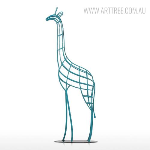 Handmade Blue Giraffe Iron Statue African Animal Metal Sculpture