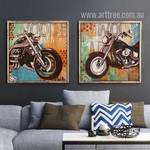 Retro Vintage Motorcycle Automobile Poster Wall Art Prints