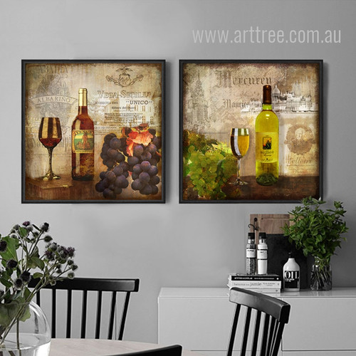 Retro Design Whiskey Wine Still life Prints for Kitchen Decor