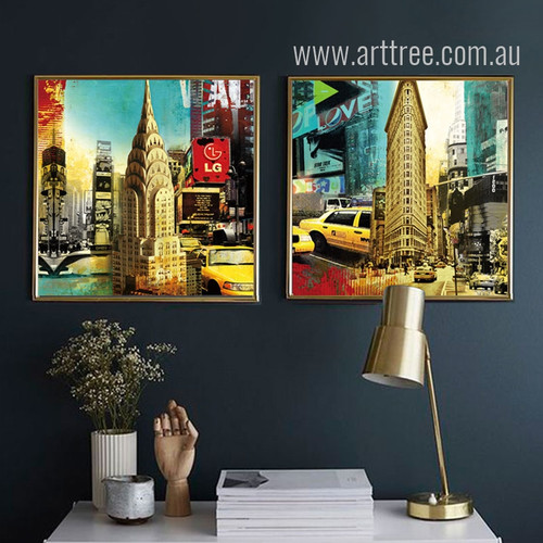 Retro Style New York 70 Pine Street and Flatiron Building Poster Prints