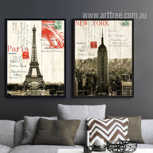 Retro Design France Paris Eiffel Tower & New York Empire State Building (1)