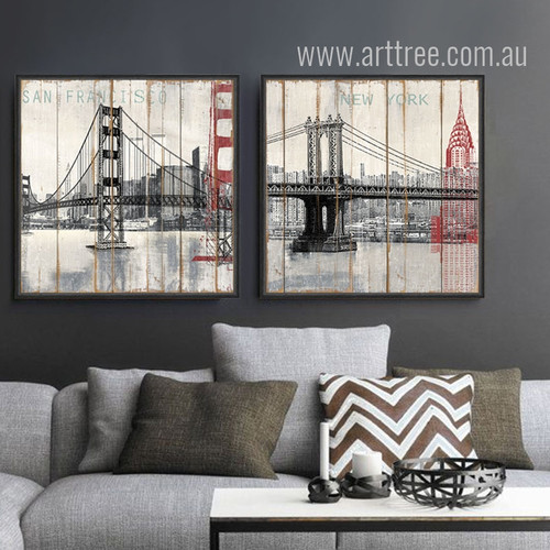 Retro Design New York Brooklyn Bridge Canvas Prints