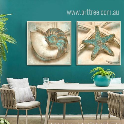 Grey Blue Ocean Starfish & Seashell Design Retro Prints