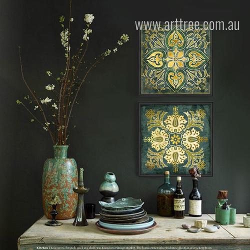 Retro Style Emerald Indian 2 Piece Kitchen Wall Decor