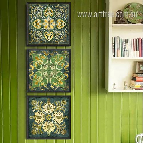 Retro Style Emerald Indian Pattern 3 Piece Wall Art