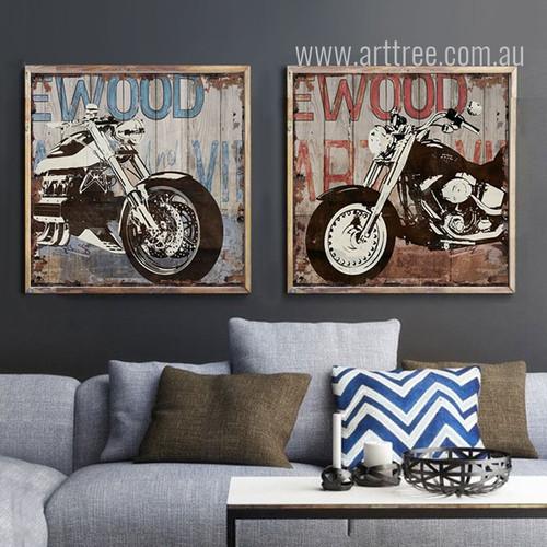 Retro Vintage Harley Motorcycle Street Art Canvas Prints