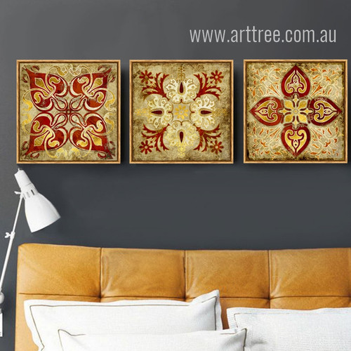 Retro Vintage Moroccan Style Golden Print Sets of 3