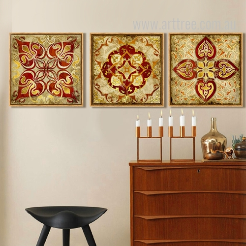 Vintage Moroccan Style Golden Print Sets of 3