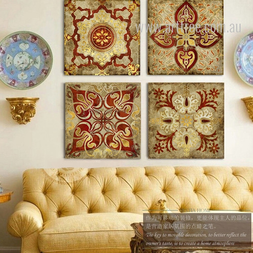 Vintage Moroccan Style Golden Print 4 Piece Canvas Art