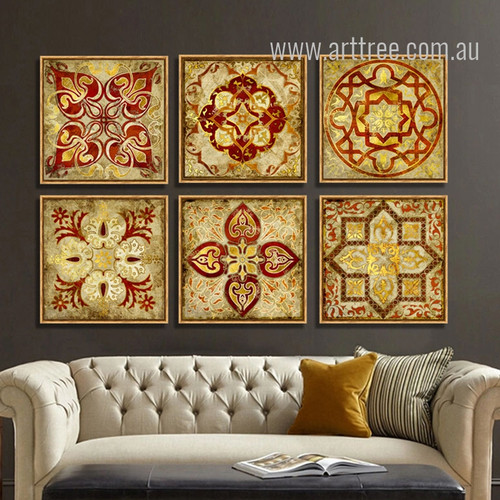 Retro Moroccan Style Golden Print 6 Piece Canvas Art