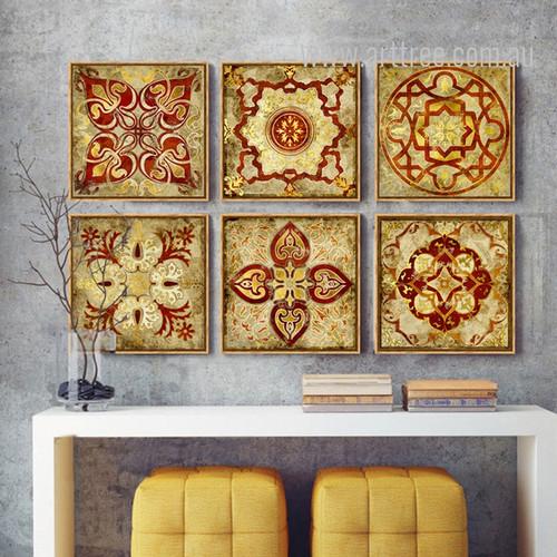 Mediterranean Moroccan Style Golden Print 6 Piece Canvas Art
