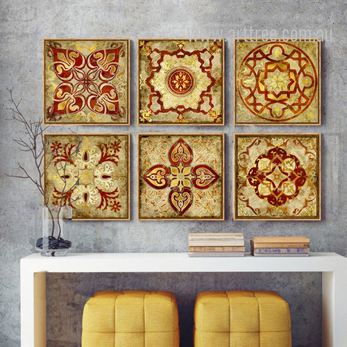 Mediterranean Moroccan Style Golden Print 6 Piece Canvas Art