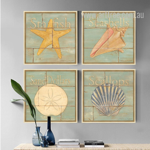 Retro Design Sea Creatures 4 Piece Art Prints
