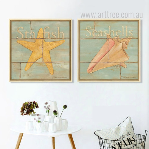 Retro Design Sea Creatures Starfish Seashell Art Prints