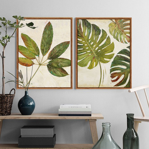 Retro Style Foliage Leaf Green Botanical Prints