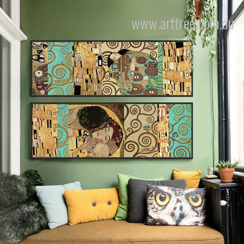 Retro Vintage Gustav Klimt The Kiss 2 Piece Wall Art Set
