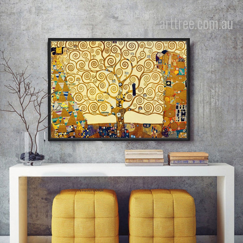 Retro Style Gustav Klimt Tree Of Life Painting Print