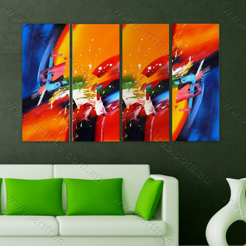Colorful Heavy Textured multi panel canvas painting