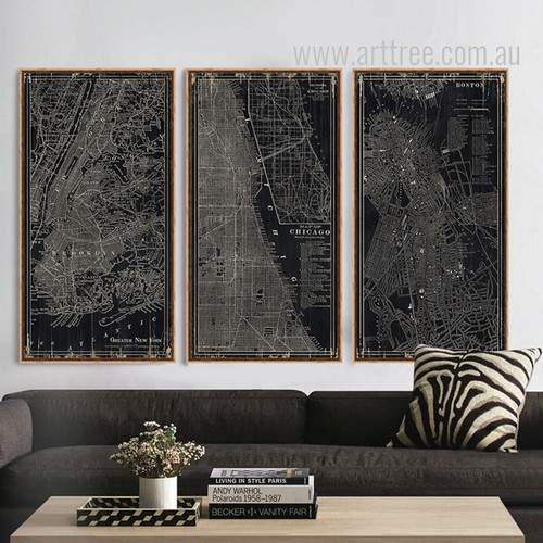 Black and White New York, Chicago, Boston City Map Oversized Canvas Art