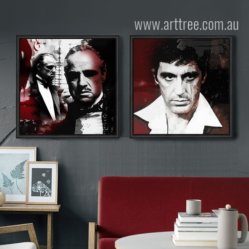 Godfather Marlon Brando and Al Pacino Vintage Poster Prints