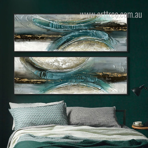 Blue Green Abstract Semicircles Oversized Canvas Art