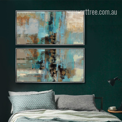 Abstract Blue Painting Style Oversized Canvas Art