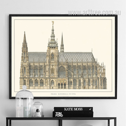 Retro Vintage London St Vitus Cathedral Poster Print