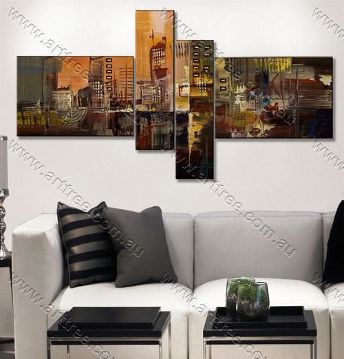 multi panel canvas painting Heavy Textured City