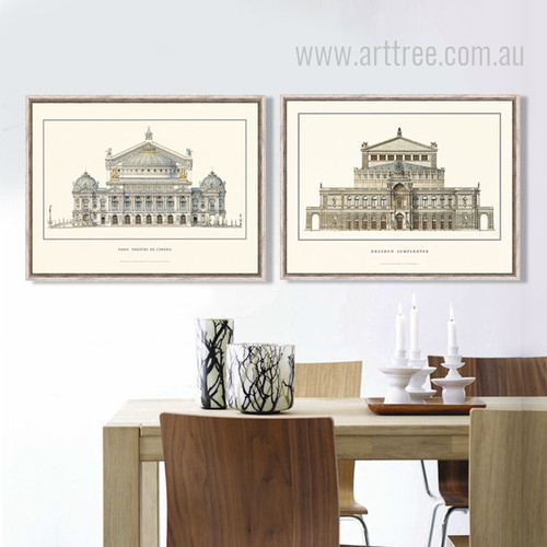 Paris Theater De L'opera Germany Dresden Canvas Prints Set