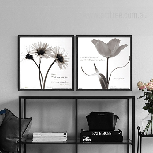 Botanical Art Sunflower Tulip Black and White Prints