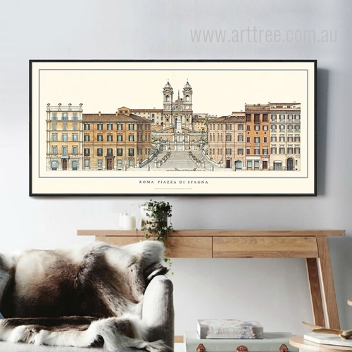 Retro Vintage Rome Squares Piazza di Spagna Large Canvas