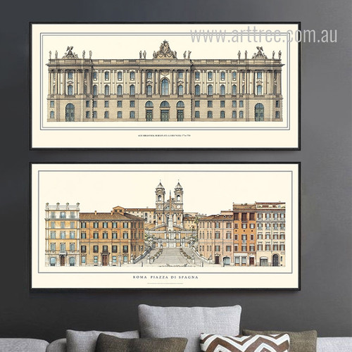 Rome Italy Trevi Fountain, Squares Piazza di Spagna Large Canvas