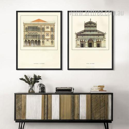 Vintage Poster Pisa Duomo, Palazzo Santa Sofia Art Set