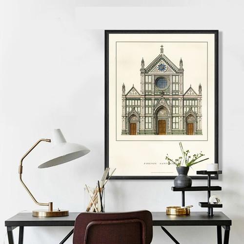 Basilica Di Santa Croce Florence Vintage Poster Design Canvas Print