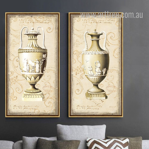 Retro Style Yellow Beige Vase 2 Piece Wall Art Set