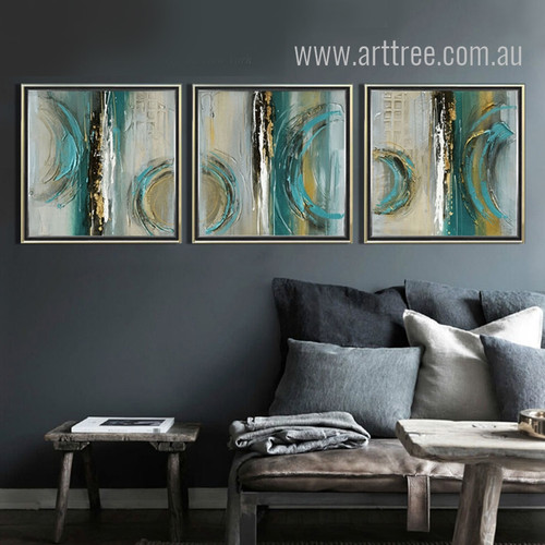 Modern Abstract Painting Squares 3 Piece Canvas Art