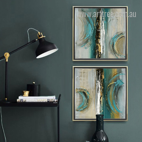 Modern Abstract Painting Squares 2 Piece Canvas Art