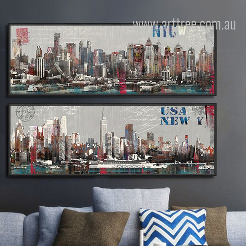 New York Manhattan Cityscape Oversized Canvas Wall Art Sets